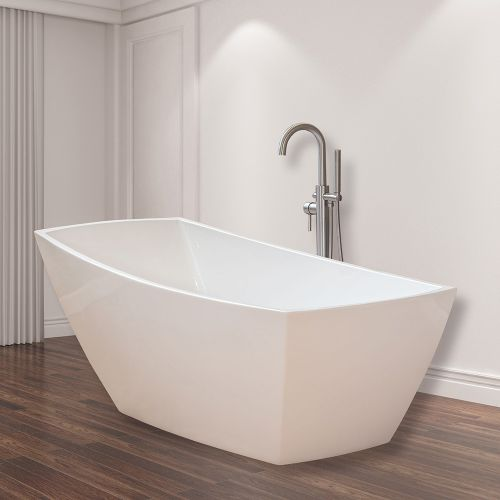 Woodbridge B-0005 Modern Bathroom Glossy White Acrylic Slipper Freestanding Bathtub