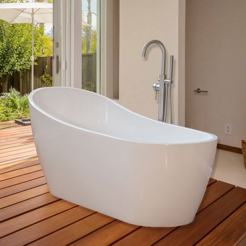 Woodbridge 67'' Modern Bathroom Glossy White Acrylic Freestanding Bathtub B-0001