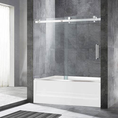 "WoodBridge Deluxe Frameless Sliding Tub Door, 5/16"" Clear Tempered Glass, Brushed Nickel Finish, 60"" x 62"" WxH, MSDF6062-B"