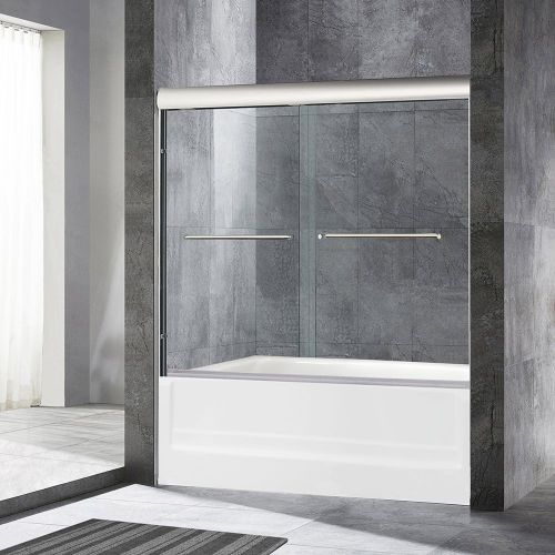 "WoodBridge Semi-Framed Bypass Sliding Bathtub Door, 1/4"" Clear Tempered Glass, Brushed Nickel Finish, 60"" x 62"" WxH, MSDE6062-B"
