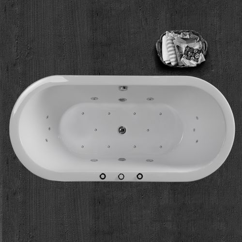 "WOODBRIDGE 67"" x 32"" Whirlpool Water Jetted and Air Bubble Freestanding Bathtub, B-0030 / BTS1606"