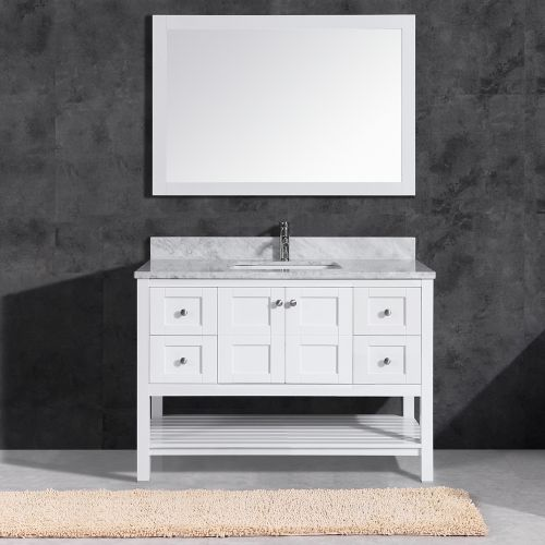 "WoodbridgeBath Sydney 4821 Top Woodbridge Solid Wood Set Carra Marble Rectangle Bowl Color, 4821-1200, 48"" Vanity + Mirror, White"