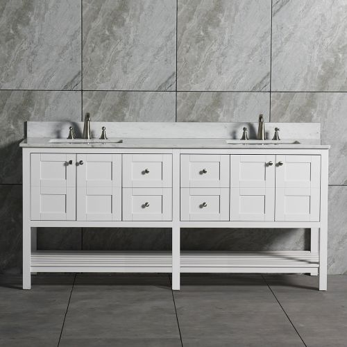 WoodbridgeBath Solid Wood Vanities with Carra White Marble Top with Two Rectangle Bowls, White Color