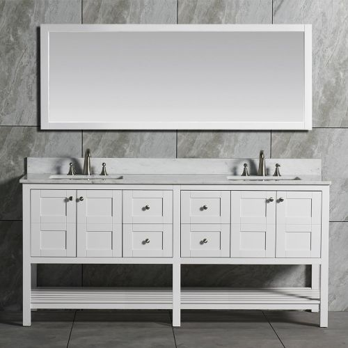 WoodbridgeBath Solid Wood Vanities with Full Length Mirror, with Carra White Marble Top with Two Rectangle Bowls, White Color