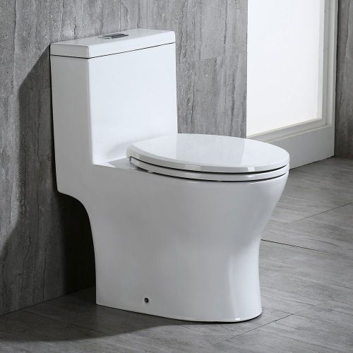 WOODBRIDGEBath T-0031 WOODBRIDGE T-0031 Short Compact Tiny One Piece Toilet with Soft Closing Seat, Small Toilet