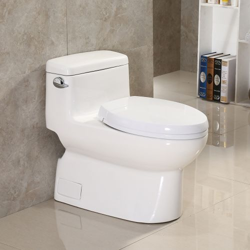 Woodbridge Elongated One Piece Toilet with Soft Closing Seat T-0002W White Ceramic