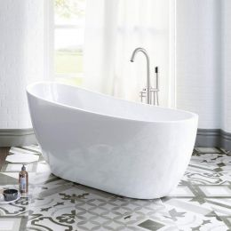 Woodbridge B-0006 Modern Bathroom Glossy White Acrylic Slipper Freestanding Bathtub