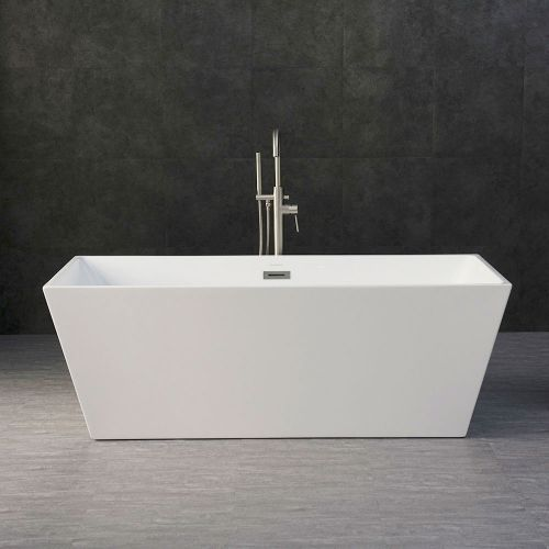 Woodbridge B-0003 Acrylic Freestanding Bathtub with Brushed Nickel drain and overflow