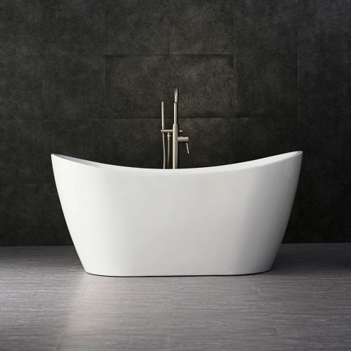 "Woodbridge 59"" Acrylic Freestanding Bathtub Contemporary Soaking Tub with Brushed Nickel Overflow and Drain, B-0011 / BTA1516"