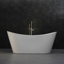 Woodbridge B-0010 Modern Bathroom Glossy White Acrylic Slipper Freestanding Bathtub