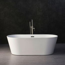 "WOODBRIDGE 67"" Acrylic Freestanding Bathtub Contemporary Soaking Tub with Brushed Nickel Overflow and Drain, B-0013 / BTA1513"