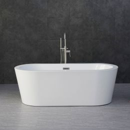 Woodbridge B-0002 Acrylic Freestanding Bathtub with Brushed Nickel Overflow and drain