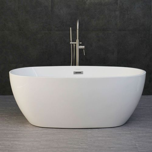 "WOODBRIDGE B-0018 59"" Modern Oval Acrylic Freestanding Bathtub Comfortable Soaking, Brushed Nickel Drain and Overflow Assembly Included, 59"" B-0018 Oval"