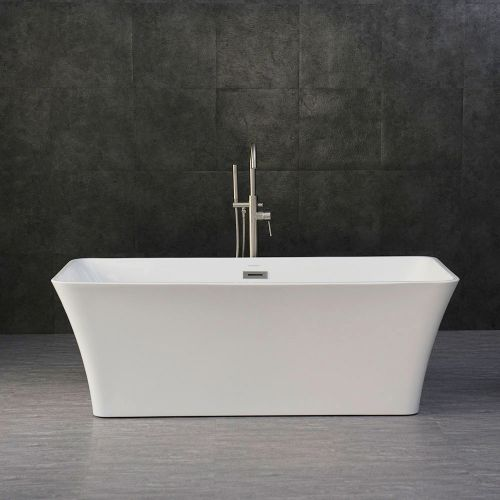 Woodbridge B-0004 Modern Bathroom Glossy White Acrylic Slipper Freestanding Bathtub