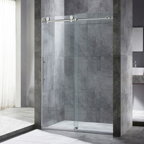 "Frameless Sliding Shower Door, 44"" - 48"" Width, 76"" Height, 3/8"" (10 mm) Clear Tempered Glass, Brushed Stainless Steel Finish, Designed For Smooth Door Closing. MBSDC4876-B"