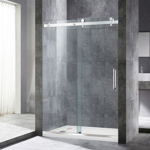 "WoodBridge Deluxe Frameless Sliding Shower Door, Clear Tempered Glass, Brushed Nickel Stainless Steel Finish, 48"" x 76"" WxH, MSDF4876-B"