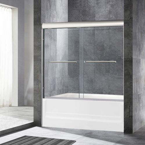 "Woodbridge MSDE6062-C Frameless Sliding Bathtub Door, 56"" To 60"" By 62"" -2 large Metal Handles, 60""X62"", Chrome Finish"