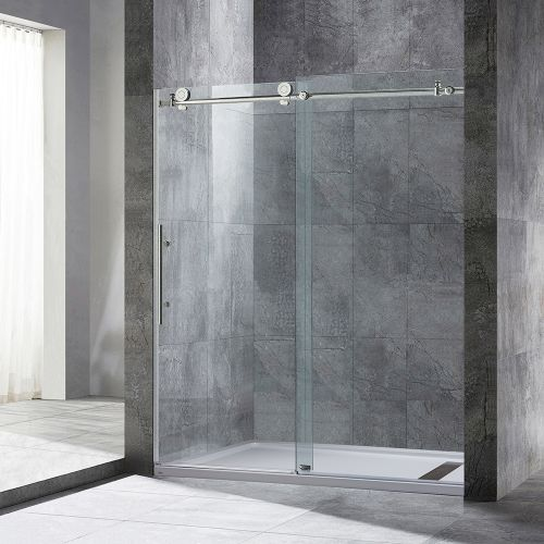 "Woodbridge Frameless Sliding Shower Door, 56"" - 60"" Width, 76"" Height, 3/8"" (10 mm) Clear Tempered Glass, Brushed Nickel Stainless Steel Finish . MBSDC6076-B"