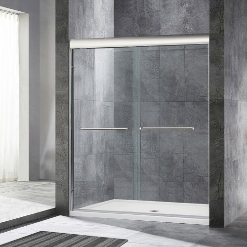 "WoodBridge Frameless Sliding Bathtub Door, 56"" to 60"" by 62"", Brushed Nickel Finish, 2 Large Metal Handles, 2-Way Sliding. Easy Open. Easy Entry. 60""x72"", MSDE6072-B"