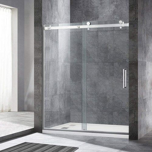 "WoodBridge Deluxe Frameless Sliding Shower Door, Clear Tempered Glass, Brushed Nickel Stainless Steel Finish, 60"" x 76"" WxH, MSDF6076-B"