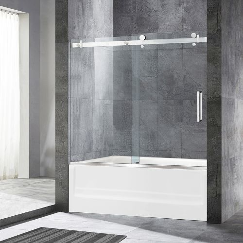 "WoodBridge Deluxe Frameless Sliding Tub Door, 5/16"" Clear Tempered Glass, Chrome Finish, 60"" x 62"", MSDF6062-C"