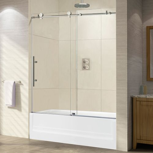 "WOODBRIDGE Frameless Sliding Bathtub Door, 56""-60"" Width, 62"" Height, 3/8"" (10 mm) Clear Tempered Glass, Chrome Finish, Designed for Smooth Door Closing and Opening. MBTDC6062-C2"