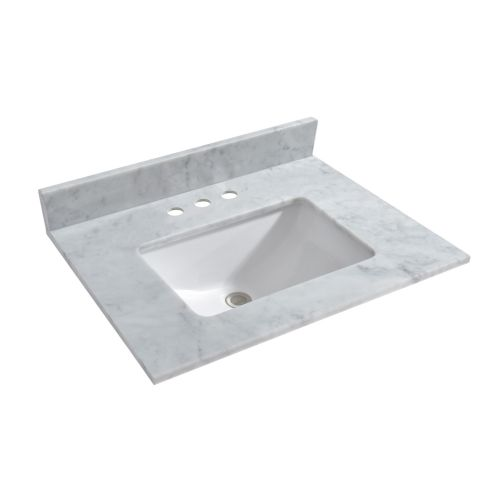 "WOODBRIDGE CAVT3122-4 Vanity Top with Under Mount Bowl, 31""x22"", Carra White"