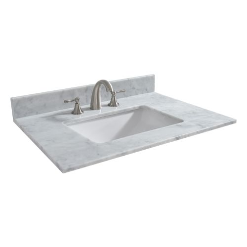 "WOODBRIDGE CAVT4322-8 Vanity Top with Under Mount Bowl, 43""x22"", Carra White, Natural Stone"
