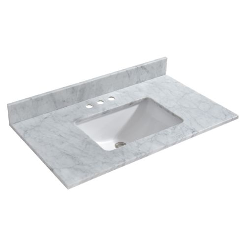 "WOODBRIDGE CAVT3722-4 Vanity Top with Under Mount Bowl, 37""x22"", Carra White"