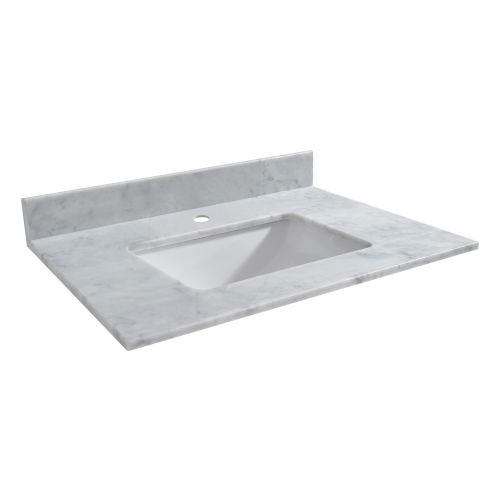 "WOODBRIDGE CAVT4322-1 Vanity Top with Under Mount Bowl, 43""x22"", Carra White, Natural Stone"