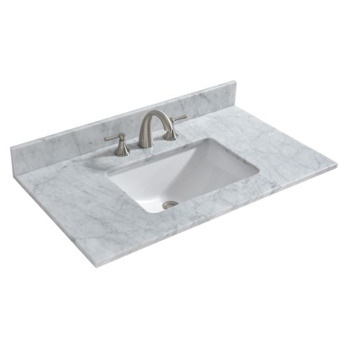 "WOODBRIDGE CAVT3722-8 Vanity Top with Under Mount Bowl, 37""x22"", Carra White"