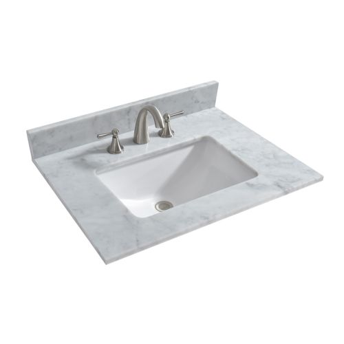 "WOODBRIDGE CAVT3122-8 Vanity Top with Under Mount Bowl, 31""x22"", Carra White"
