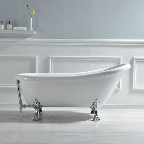 "WOODBRIDGE 67"" x 30"" Slipper Clawfoot Bathtub with Solid Brass Polished Chrome Finish Drain and Overflow, B-0023 /BTA1523, White, Tub 67"""