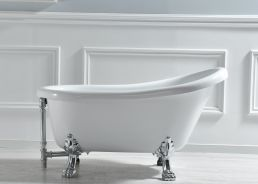 "WOODBRIDGE 54"" Slipper Clawfoot Bathtub with Solid Brass Polished Chrome Finish Drain and Overflow, B-0021 /BTA1521 Tub"