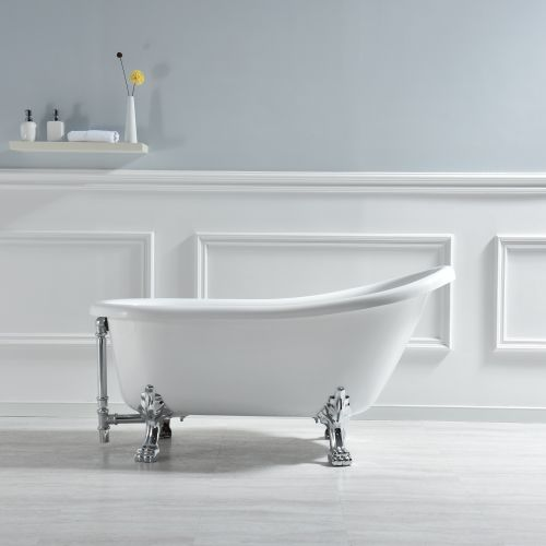 WOODBRIDGE Slipper Clawfoot Bathtub with Solid Brass Polished Chrome Finish Drain and Overflow, B-0022 /BTA1522, Tub 59""