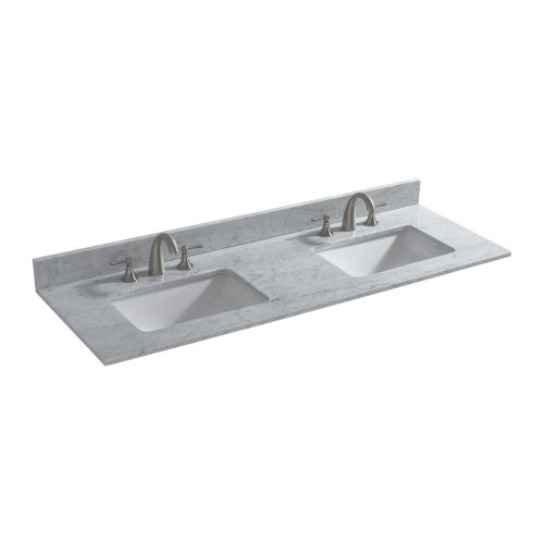 "WOODBRIDGE CAVT6122D-8 Vanity Top with Under Mount Bowl, 61""X22"" Double, Carra White,Natural Stone"