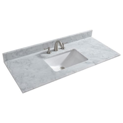 "WOODBRIDGE CAVT4922-8 Vanity Top with Under Mount Bowl, 49""x22"", Carra White,Natrual Stone"