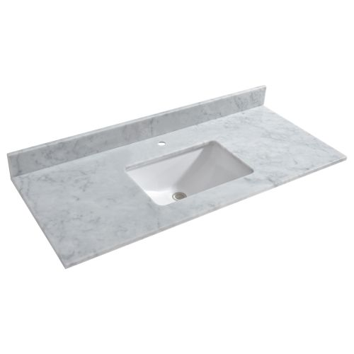 "WOODBRIDGE CAVT4922-1 Vanity Top with Under Mount Bowl, 49""x22"", Carra White,Natrual Stone"