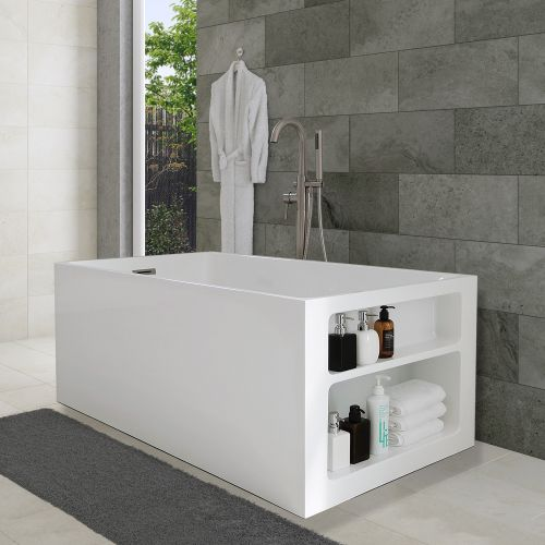 "WOODBRIDGE 59'' x 30"" Modern Acrylic Freestanding Bathtub, with Storage Design, B-0081, 59"""