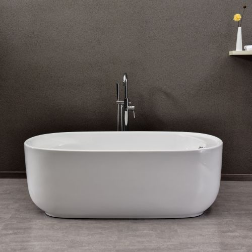 "WOODBRIDGE 67"" Acrylic Freestanding Bathtub Contemporary Soaking Tub with Brushed Nickel Overflow and Drain, B-0025 / BTA1525"