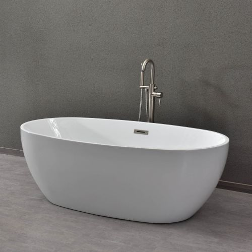 "WOODBRIDGE BTA1528/B-0028 Oval 67"" Acrylic Freestanding Bathtub Contemporary Soaking Tub with Chrome Overflow & Drain, BTA1528/ B-0028"