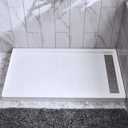 "WOODBRIDGE Solid Surface Shower Base 60"" L x 32"" W x 4"" H, Right Stainless Steel Linear Drain Cover, White"
