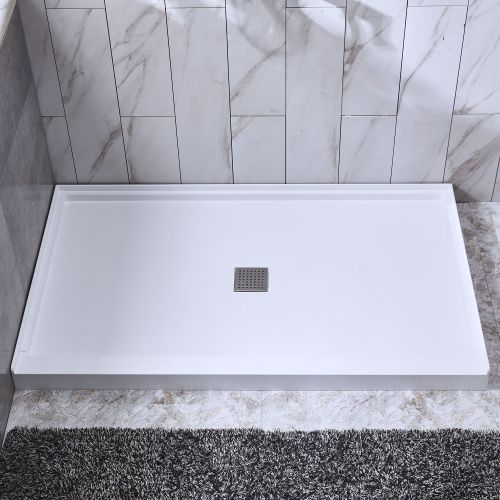 "WOODBRIDGE Solid Surface Shower Base 60"" L x 30"" W x 4"" H, Center Stainless Steel Linear Drain Cover, White"