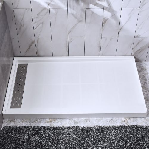 "WOODBRIDGE Solid Surface Shower Base 60"" L x 34"" W x 4"" H, Left Stainless Steel Linear Drain Cover, White"