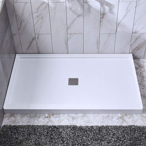 "Woodbridge SBR6034-1000C Solid Surface Shower Base with Recessed Trench Side Including Stainless Steel Linear Cover, 60"" L x 34"" W x 4"" H,Center Drain White Color"