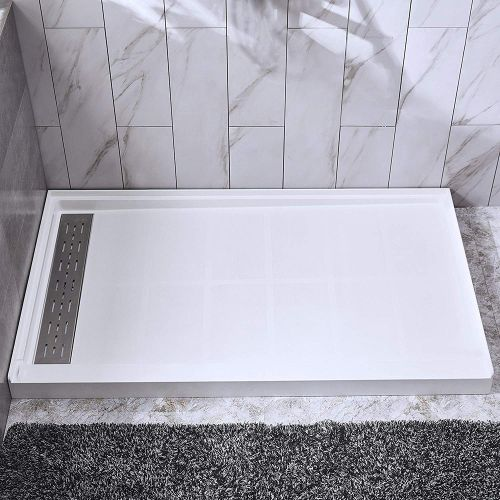 "Woodbridge SBR6034-1000L Solid Surface Shower Base with Recessed Trench Side Including Stainless Steel Linear Cover, 60"" L x 34"" W x 4"" H, Left Drain, White Color"