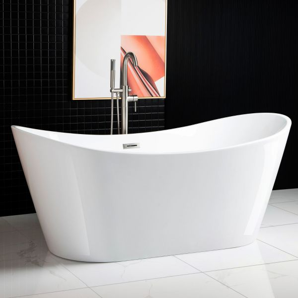 ᐅ Woodbridge 71 Acrylic Freestanding Bathtub Contemporary Soaking Tub With Brushed Nickel Overflow And Drain White Tub B0017 B N Drain O Woodbridge