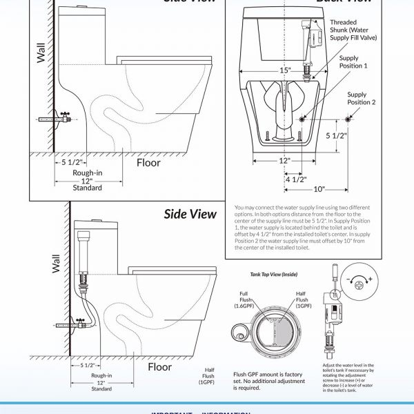 Woodbridgebath T 0019 Dual Flush Elongated One Piece Toilet With Soft Closing Seat Comfort Height Water Sense High Efficiency T 0019 Rectangle Button Woodbridge