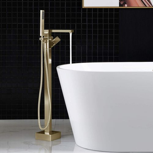 WOODBRIDGE F0008BG Contemporary Single Handle Floor Mount Freestanding Tub Filler Faucet with Hand shower in Brushed Gold Finish.