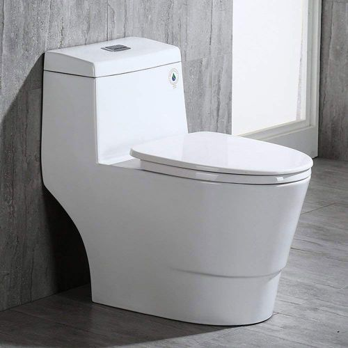 WoodbridgeBath T-0019, Dual Flush Elongated One Piece Toilet with Soft Closing Seat, Comfort Height, Water Sense, High-Efficiency, T-0019 Rectangle Button